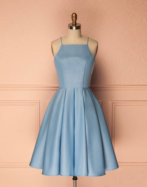 Blue Halter Neck Short Pleated A-Line Homecoming Dress