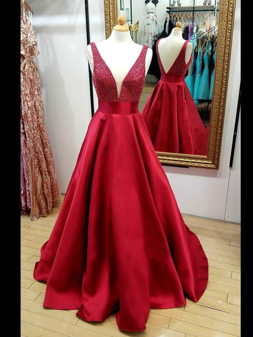 Red V-Neck Beaded Prom Dress,Backless Cheap Evening Gowns on Luulla