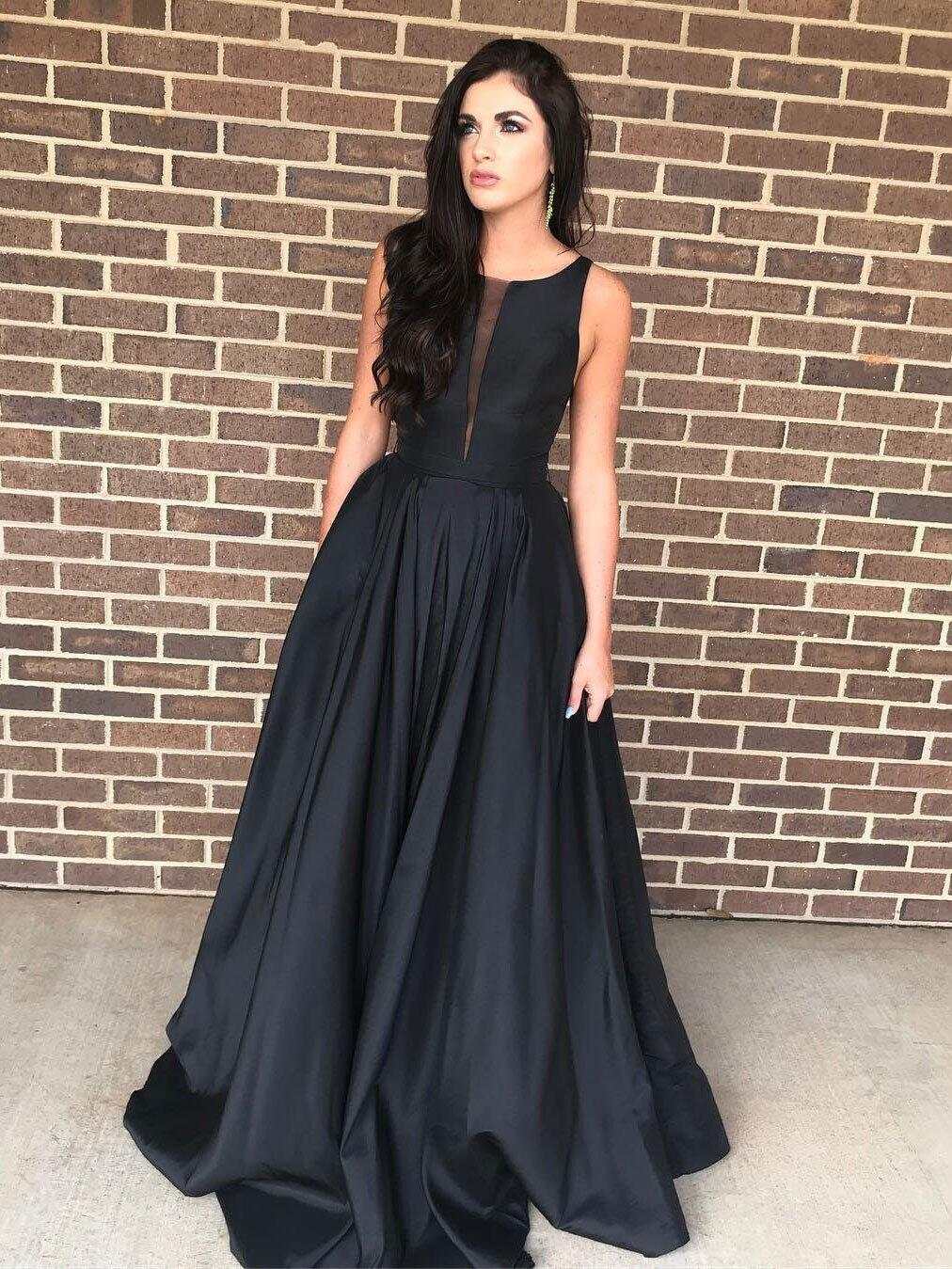 Cheap Black Sleeveless Satin Formal Dresses,Black Plus Size Prom Dresses