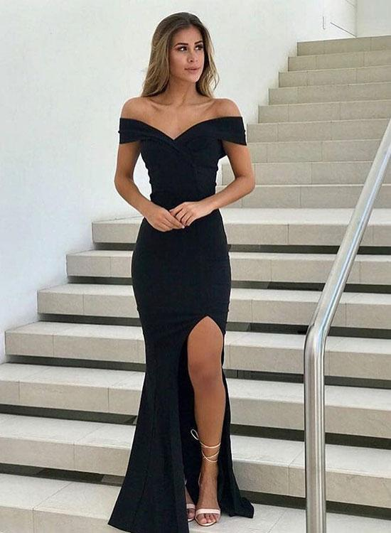 5f396c750857 Charming Black V-Neck Split Long Prom Dress,Mermaid Evening Dress on ...