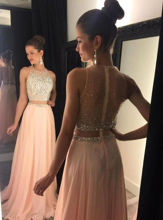 e7562b781297 Charming Prom Dress,Two Piece Prom Dress,Light Pink Prom Dress,Beading Prom