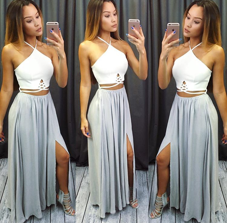 Sexy Two-Piece Halter Long Prom Dress,Side Slit Evening Dress,2017 Prom Dress