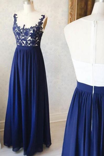 Elegant Royal Blue Boat Neck Applique Prom Dress,Long Prom Dress,Sleeveless Party Dress,Floor Length Bridesmaid Dress