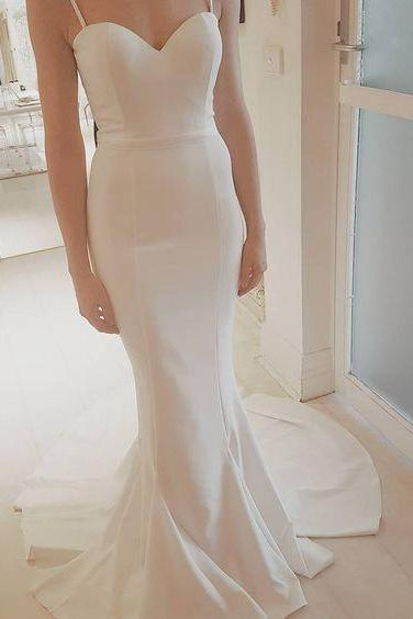 Spaghetti Strap White Mermaid Long Prom Dress,Charming Sweetheart Prom Dress,Sweep Train Prom Dress,Long Party Dresses