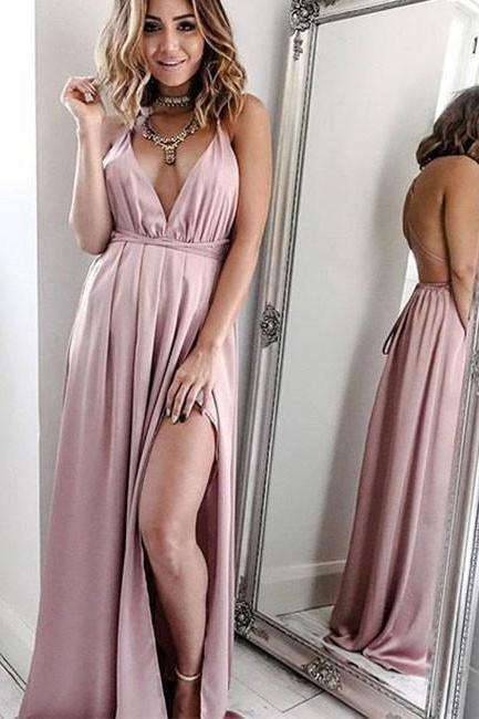 Pink V Neck Long Prom Dress,Open Back Evening Dresses
