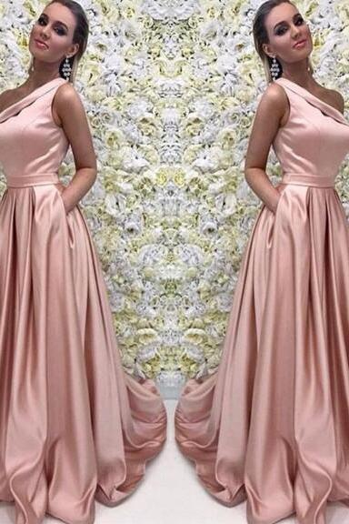 Custom Made Blush Pink One Shoulder Satin A-Line Prom Dress, Bridesmaid Dress with Pockets