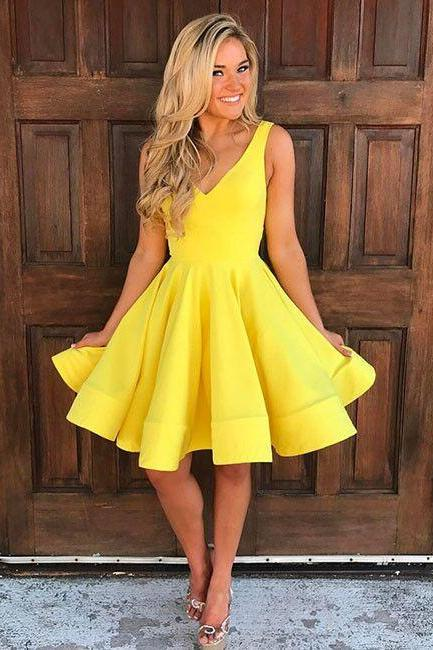 Simple V Neck Yellow Homecoming Dress,A Line Party Dresses,Girl Graduation Dresses