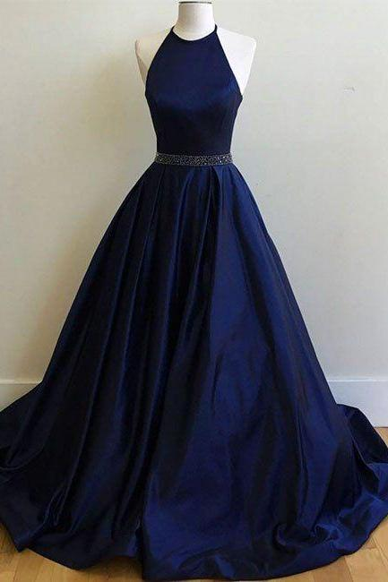 2017 Long Navy Prom Dress,Halter A Line Party Dress,Beading Waist Prom Dresses