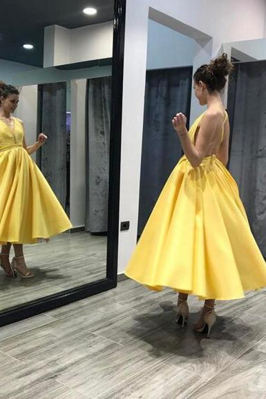 A Line V-Neck Yellow Tea Length Party Dress,Homecoming Dress with Criss Cross,Short Prom Dress
