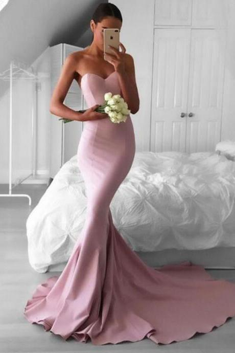 Gorgeous Blush Sweetheart Mermaid Prom Dress,Sweep Train Long Evening Dresses