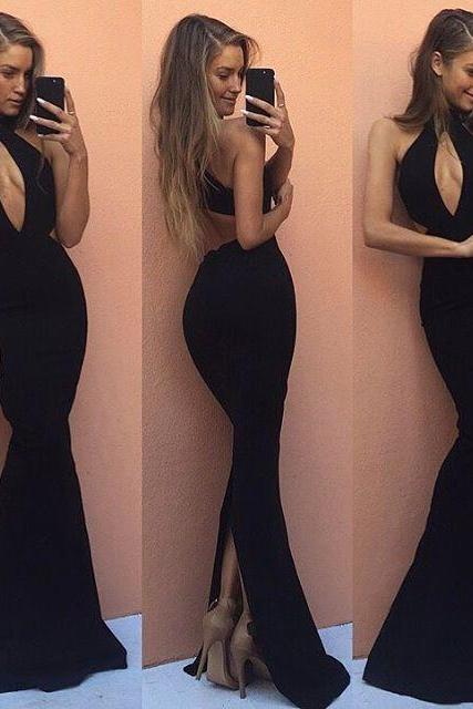 Halter Black Backless Prom Dress,Mermaid Long Evening Dress with Keyhole