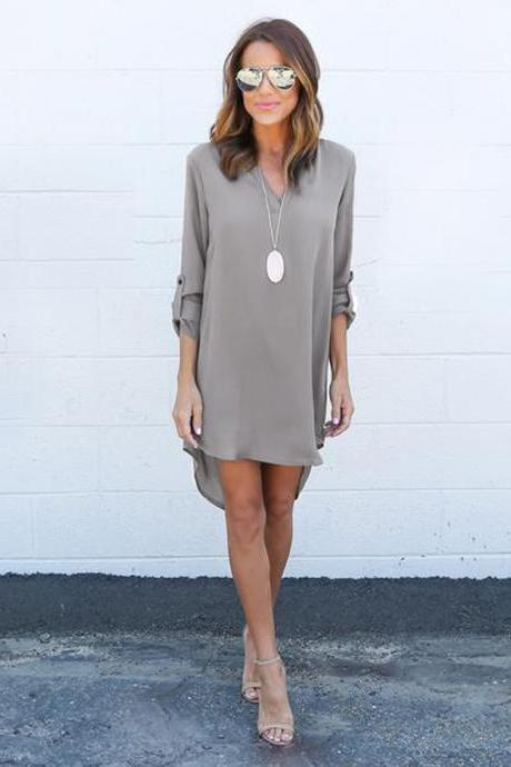 Simple Dress,Long Sleeve V Neck Skirt,Hi low chiffon Dress