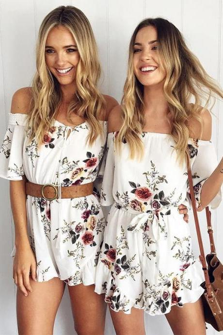Floral Print White Off-The-Shoulder Ruffled Short Flare-Sleeved Romper