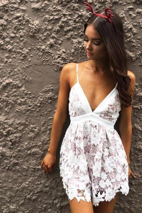 Floral Lace Plunge V Spaghetti Strap Romper Featuring Bow Accent Back