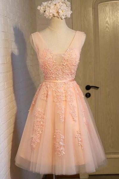 V Neck Pink Applique Homecoming Dress,Short A Line Bridesmaid Dress,Lace Applique Graduation Dress