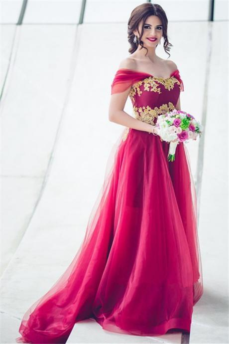 Glamorous Tulle Off-the-Shoulder Prom Dress,Appliques A-line Bridesmaid Dress