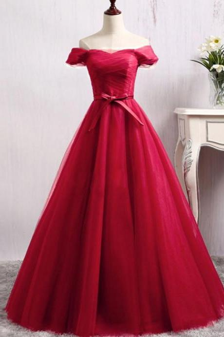 Red Elegant Off Shoulder Tulle Ball Gown,Long Evening Dress,2018 Red Prom Dress with Sash