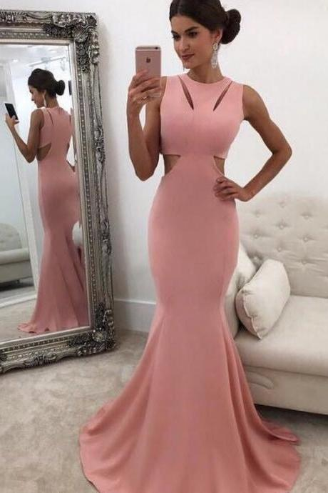 Classic Mermaid Round Neck Pink Prom Dress with Cut-Out,Sweep Train Long Evening Dress
