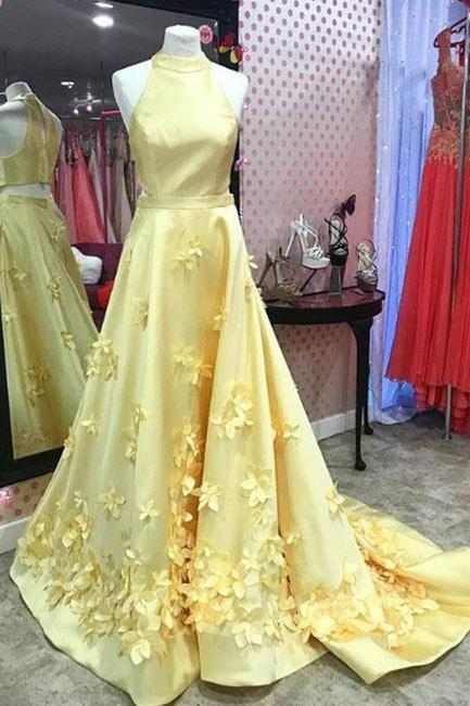 Unique Yellow High Neck Satin Long Prom Dress,Yellow Evening Dress