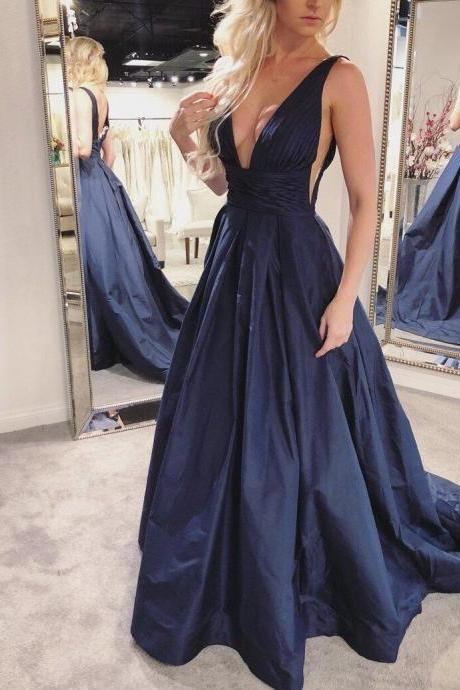 Navy Blue Pleated A-Line Skirt V Neck Prom Gown,2018 Long Taffeta Backless Evening Gowns