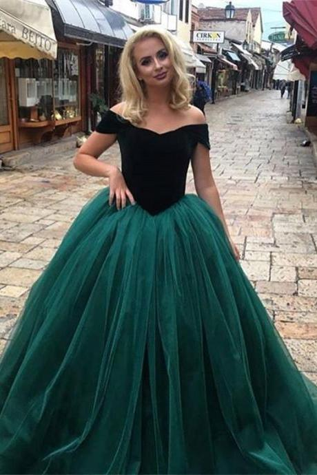 Glamorous Off-The-Shoulder Green Tulle Ball Gown,2018 Long Prom Dresses
