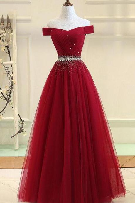 Cheap Burgundy Off-the-shoulder Beaded Sequined Prom Dresses,A-Line Tulle Evening Dress