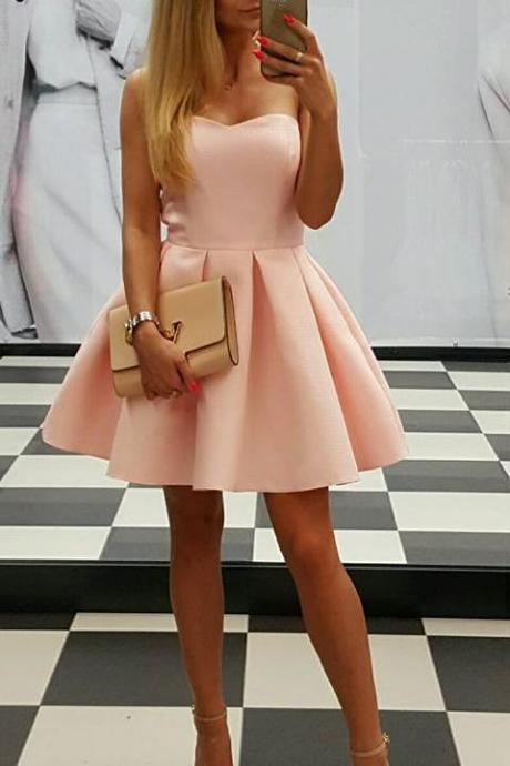 Pink Sweetheart Homecoming Dress,Mini Party Dress,Cute Short Prom Dress