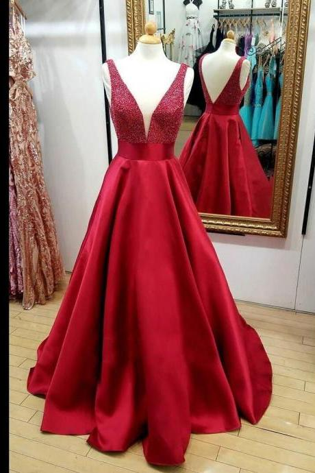 Red V-Neck Beaded Prom Dress,Backless Cheap Evening Gowns