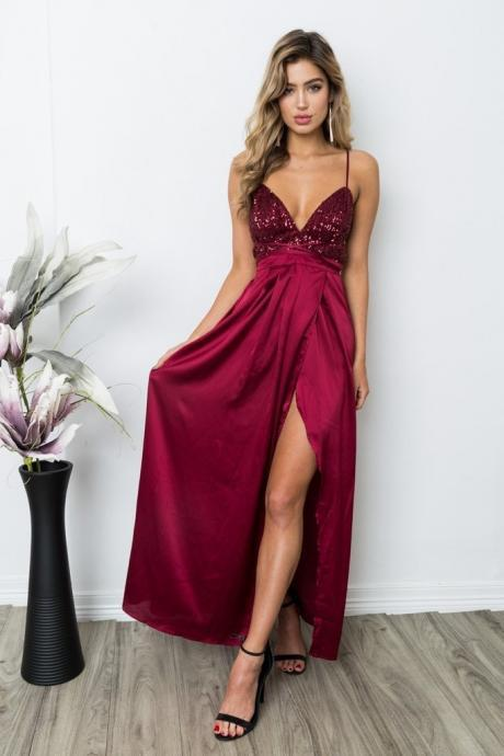 Sexy Burgundy Sequins V-Neck Maxi Dress,Backless Formal Dress