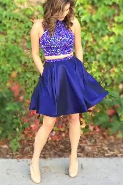 Two Piece Royal Blue Beaded Homecoming Dress,Halter Satin Party Dress