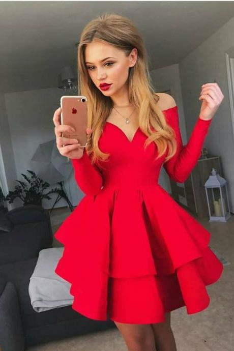 Red Long Sleeve Ruffles Homecoming Dress,V-Neck Short Prom Dress