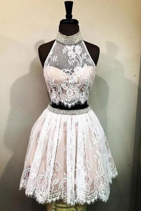 Cute High Neck Two Piece Lace Homecoming Dress,Short Prom Dress