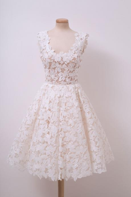 Cute Ivory Lace Homecoming Dresses Short Prom Dress