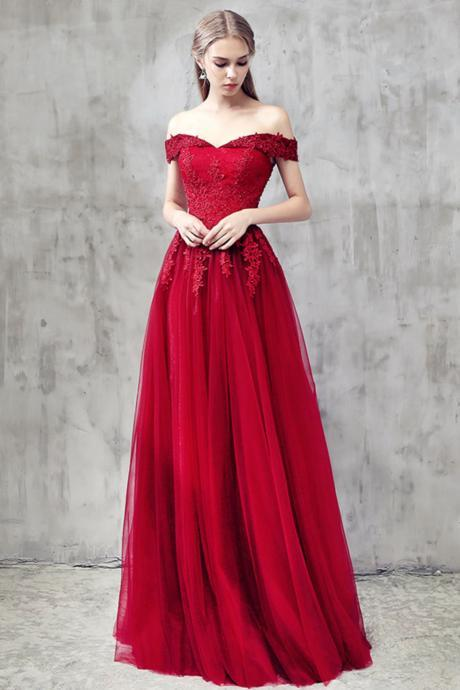 Elegant Burgundy Long Prom Dress with Applique,A-Line Lace Tulle Formal Dress,Burgundy Bridesmaid Dress