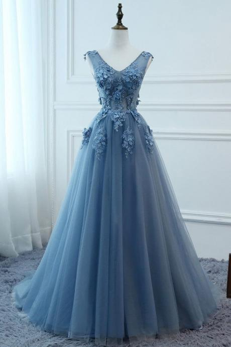 A Line V Neck Dusty Blue Lace Prom Dress,Tulle Lace Formal Dreses,Evening Dress
