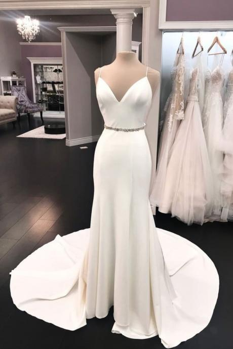 Elegant White V-neck Long Wedding Dress,Simple Spaghtti Straps Beaded Prom Dress,Evening Dress