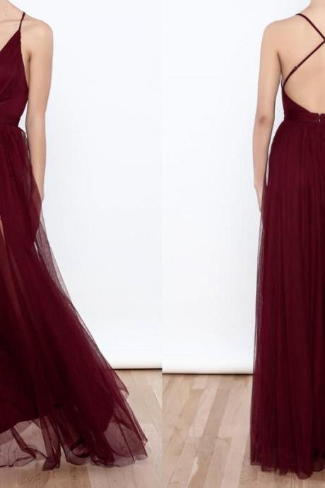 Burgundy V Neck A Line Tulle Prom Dress,Criss-cross Back Prom Evening Dress