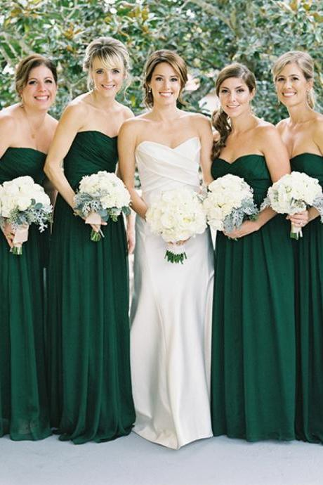 Simple Sweetheart Green Long Chiffon Bridesmaid Dress,A Line Bridesmaid Dress,Zipper Back Prom Dress