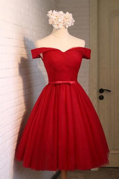 A-line tulle sweetheart neck short prom dress,party dresses,short bridesmaid dress