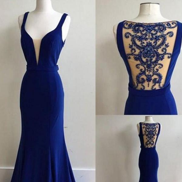 elegant royal blue mermaid prom dress,long beads evening dress