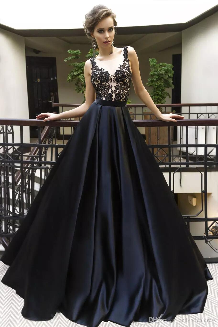 Sexy Black Applique Prom Dresses With Illusion Bodice
